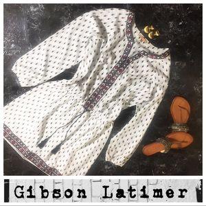 Gibson Latimer Boho Peasant Embroidered  Dress